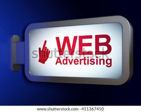 Marketing concept: WEB Advertising and Mouse Cursor on advertising billboard background, 3D rendering - stock photo