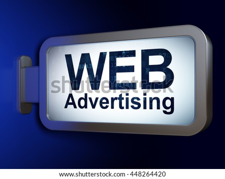 Marketing concept: WEB Advertising on advertising billboard background, 3D rendering - stock photo
