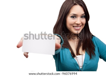 Marketing concept - woman showing business card - stock photo