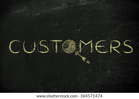 "marketing concepts: the word ""customers"" with real targets and arrows"