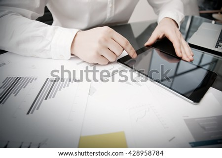 Marketing Department Work Process.Photo Trader working Online Report Documents Touching Tablet,Reflections Screen.Using Graphics,Stock Exchanges Files. Business Project Startup. Horizontal - stock photo