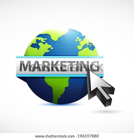 marketing globe sign illustration design over a white background - stock photo