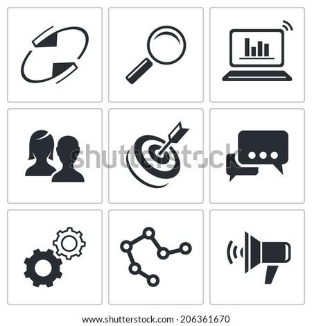 Marketing icon set - stock photo