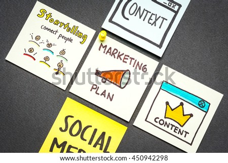 Marketing plan, context, content, storytelling and social media paper notes concept on gray background. - stock photo