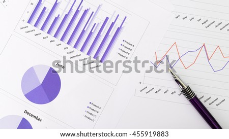 Marketing report chart and graph analysis with pen.