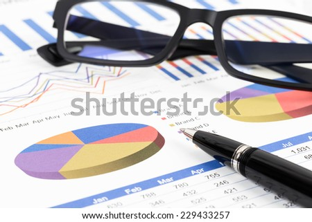 Marketing report pie chart with graph analysis