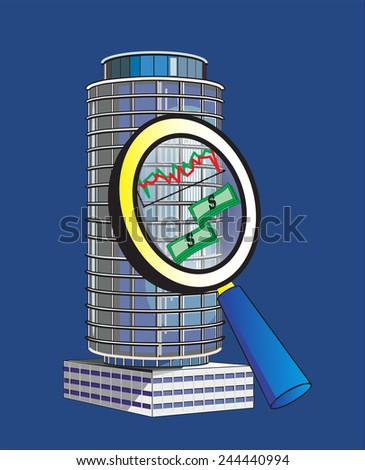 Marketing research (big building under the magnifying glass) - stock photo
