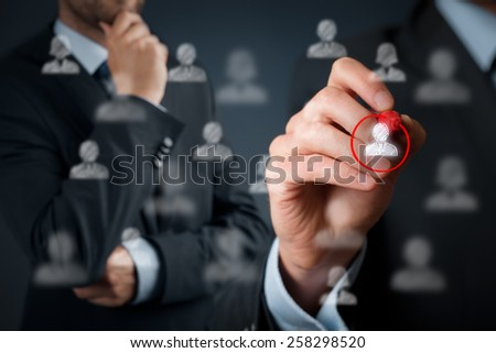 Marketing segmentation and targeting, personalization, individual customer care (service), customer relationship management (CRM) and leader concepts.  - stock photo