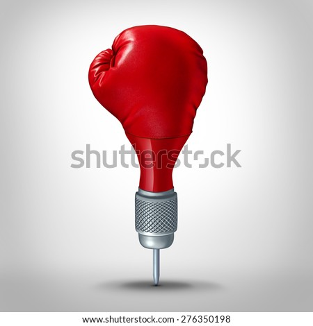 Marketing strategy and competitive target planning concept as a dart shaped with a red boxing glove as a business symbol for an accurate focused winning goal plan. - stock photo