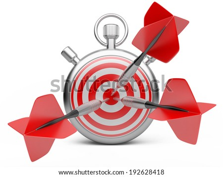 marketing strategy concept. dart hitting the center of a target with stopwatch. 3d illustration  on a white - stock photo