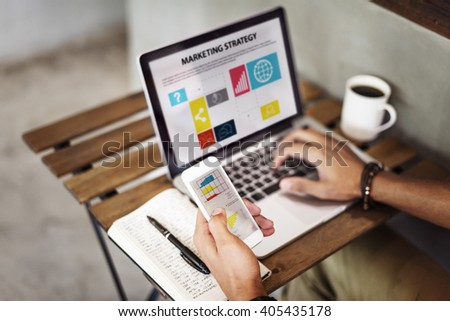 Marketing Strategy Connecting Digital Devices Concept - stock photo