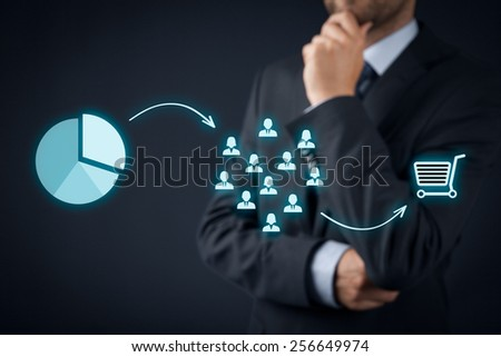 Marketing strategy - segmentation, targeting, and positioning. Visualization of marketing strategy process.  - stock photo