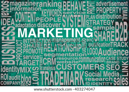 Marketing terms scheme in green colors to be used as background