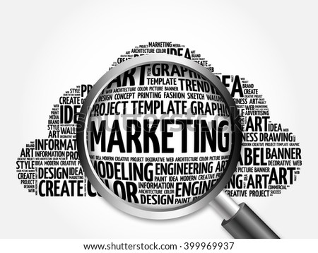 MARKETING word cloud with magnifying glass, business concept