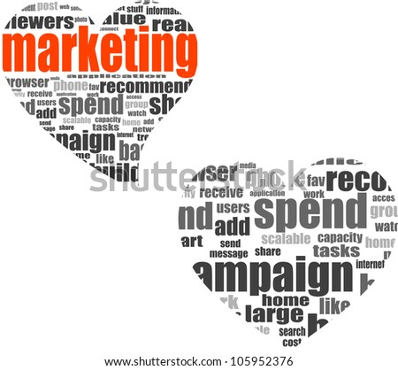 marketing. Word collage set in heart shape. Illustration with different association terms - raster