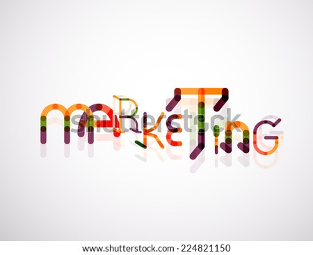 Marketing word font concept, minimal line design - stock photo