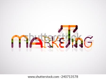 Marketing word font concept, minimal line design - stock photo