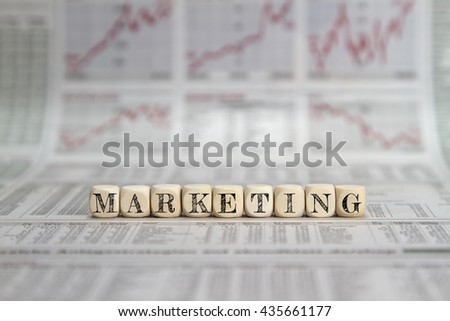 Marketing word on a newspaper background