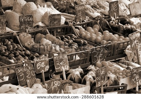 Marketplace in Venice, Italy. Outdoor market stall with fruits and vegetables. Sepia tone - retro monochrome color style. - stock photo