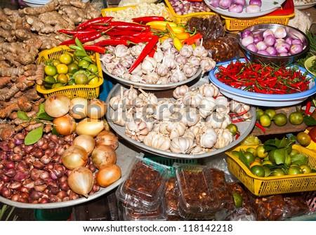 markets ho chi minh saigon south vietnam howing typical vietnamese food staples - stock photo