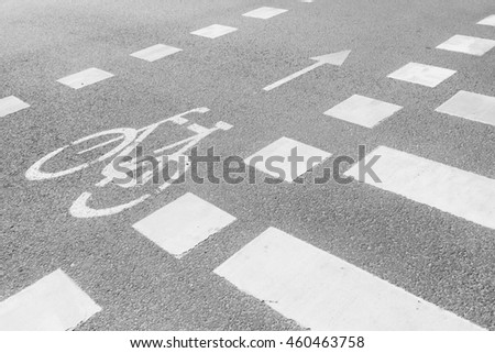 Marking bike route with the arrow direction and a pedestrian crossing on dry pavement gray