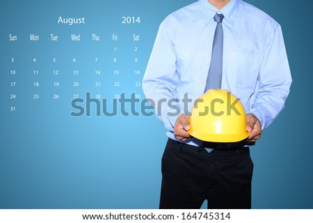marking  day on August  2014 calendar  - stock photo
