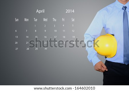 marking new year day on calendar April 2014.  - stock photo