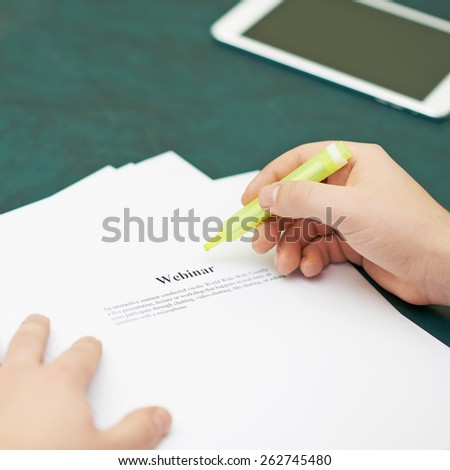 Marking words in a webinar definition, shallow depth of field composition - stock photo