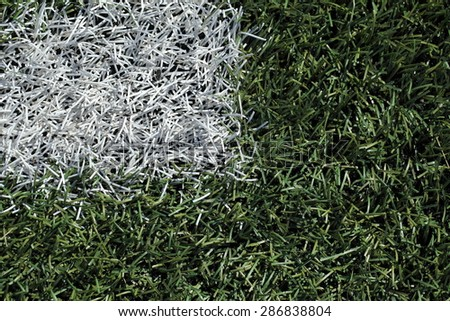 markings on the football field with artificial turf - stock photo
