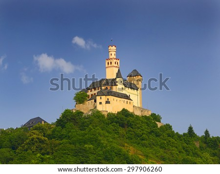 Marksburg Castle at Braubach in Germany, Rhine Valley - UNESCO World Heritage Site - stock photo