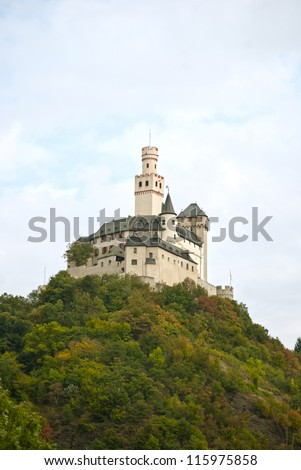 Marksburg, fortress above the town of Braubach in Rhineland-Palatinate, Germany, the only medieval castle of the Middle Rhine that has never been destroyed. - stock photo