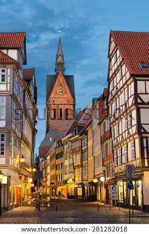 Marktkirche and the old town in Hannover, Germany at night - stock photo