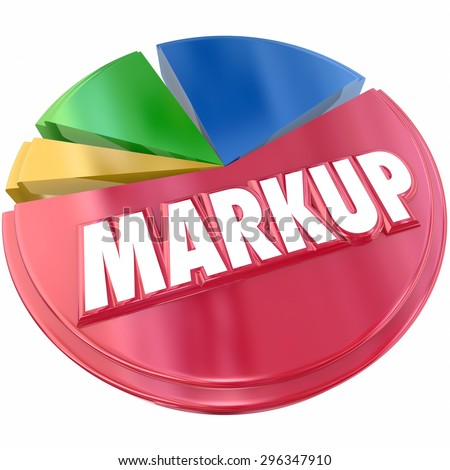 Markup pie chart of price or cost increase as a percent or amount of total overall value of product or transaction