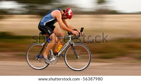 MARLEY POINT, VIC - CIRCA 2008: A unidentified triathlete competes in a triathlon at Marley point near Sale, Circa 2008 Marley Point, Vic, Australia,