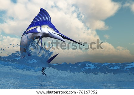 MARLIN - A blue Marlin shows off his beautiful colors when bursting from the ocean. - stock photo
