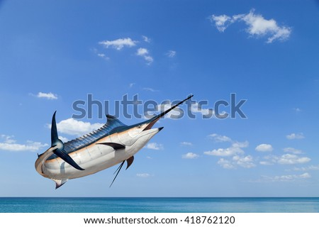 Marlin - Swordfish,Sailfish saltwater fish (Istiophorus) isolated on sea and sky  background - stock photo