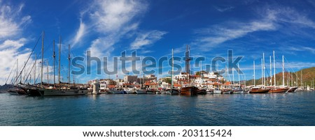 Marmaris city with fortress and marina, view from sea, Turkey, Europe - stock photo