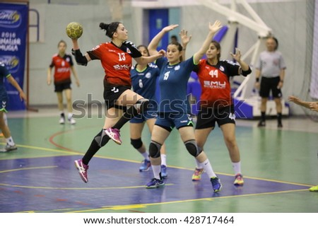 Marmaris, Turkey - May 06, 2016 : Women  handball players are playing during the Unilig University summer competitions on May 06, 2016 in Marmaris, Turkey.