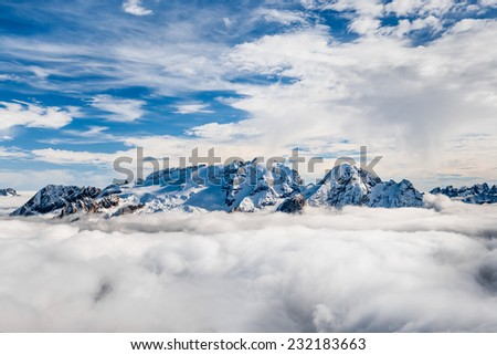 Marmolada summit in Dolomites in winter