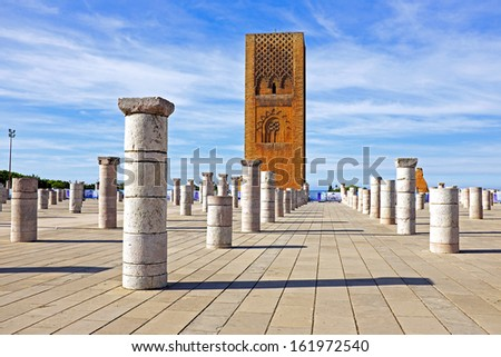 Marocco,Rabat. The Hassan Tower opposite the Mausoleum of King Mohamed V. - stock photo