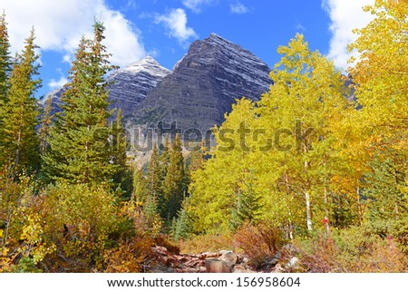 Maroon Bells and the Elk Range in Autumn Color, Rocky Mountains, Colorado - stock photo