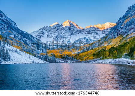 Maroon bells at sunrise, Aspen, CO. - stock photo