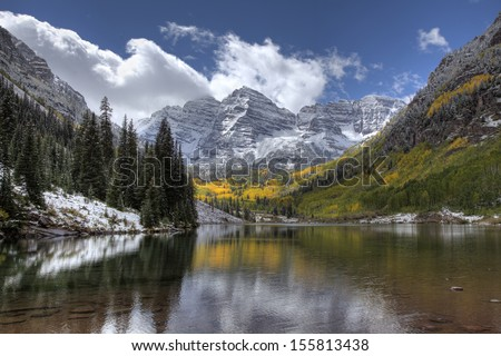 Maroon Bells Colorado after an early Autumn Snow - stock photo