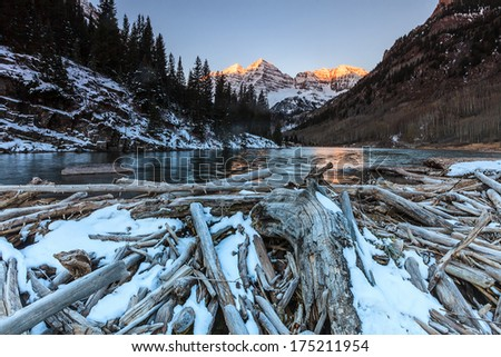 Maroon Bells in White River National Forest, Colorado - stock photo