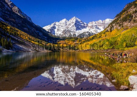 Maroon Bells, most photographed spot in Colorado - stock photo