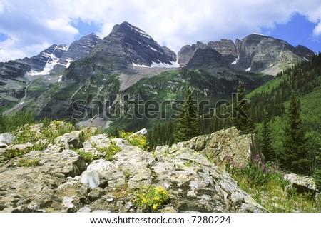 Maroon Bells peaks in Colorado Rockies - stock photo