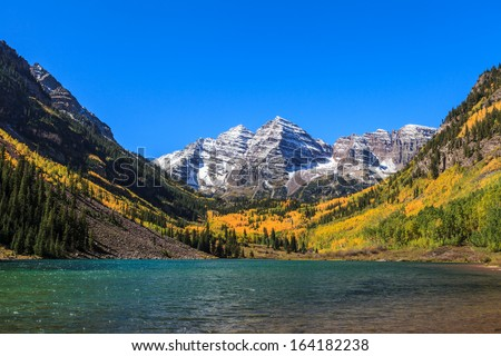 Maroon Bells, White River National Forest, Colorado - stock photo