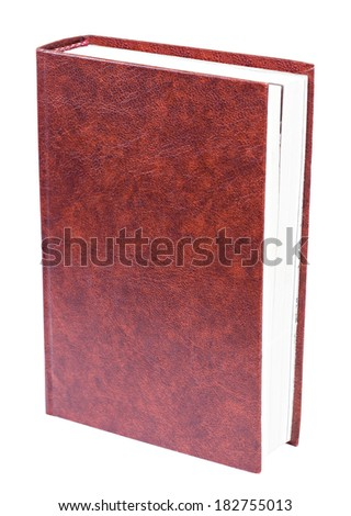 Maroon book with blank patterned hardcover standing isolated on white background