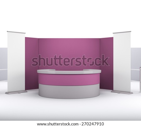 maroon booth or stall with wall and roll-up from front - stock photo