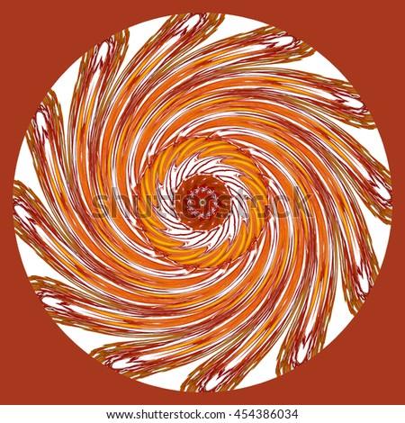 Maroon red orange white cream spin twirl kaleidoscope twist turn round oval background backdrop pattern design  - stock photo